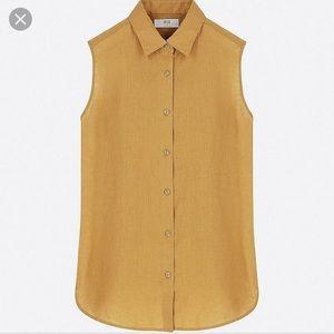 Uniqlo premium linen sleeveless button down